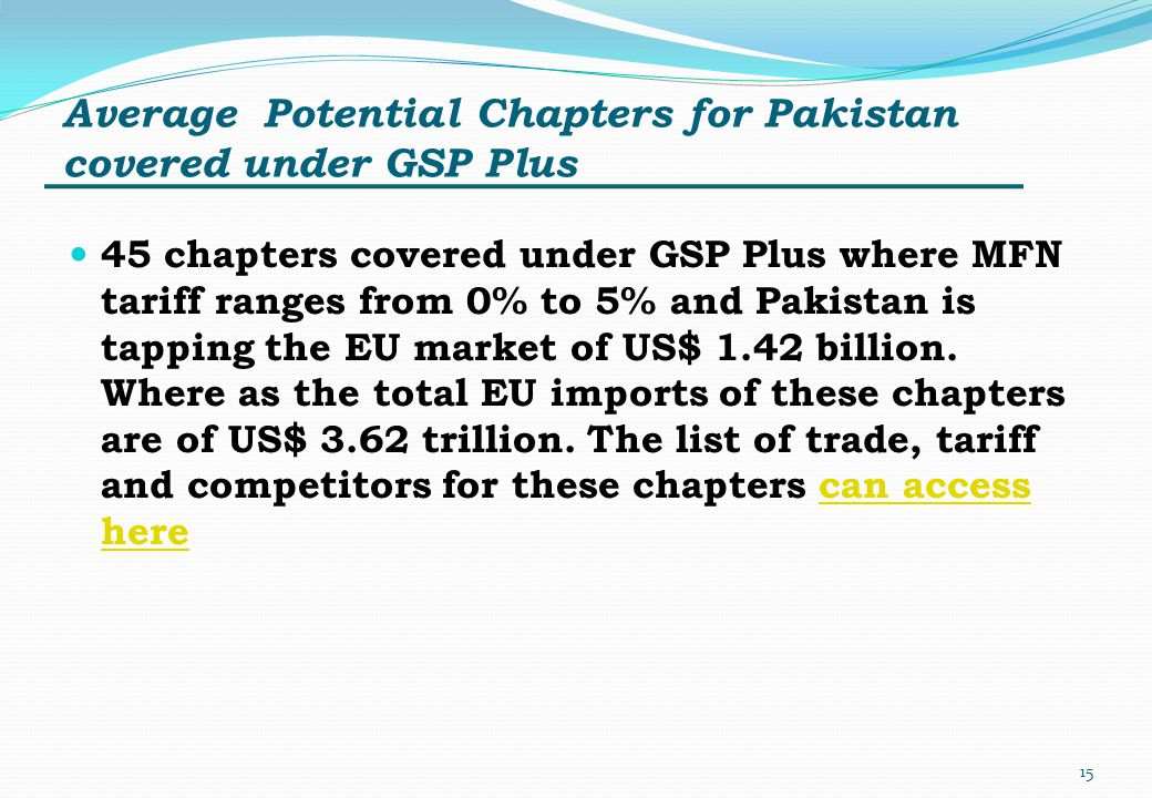 Average Potential Chapters for Pakistan covered under GSP Plus 45 chapters covered under GSP Plus where MFN tariff ranges from 0% to 5% and Pakistan i