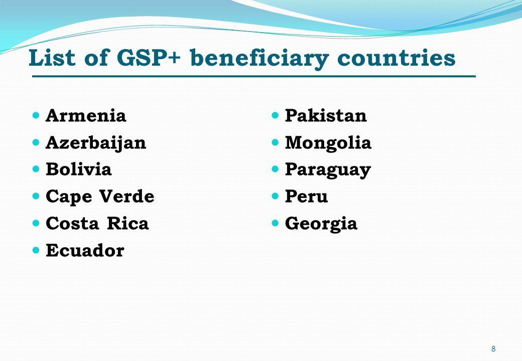 List of GSP+ beneficiary countries Armenia Azerbaijan Bolivia Cape Verde Costa Rica Ecuador Pakistan Mongolia Paraguay Peru Georgia 8