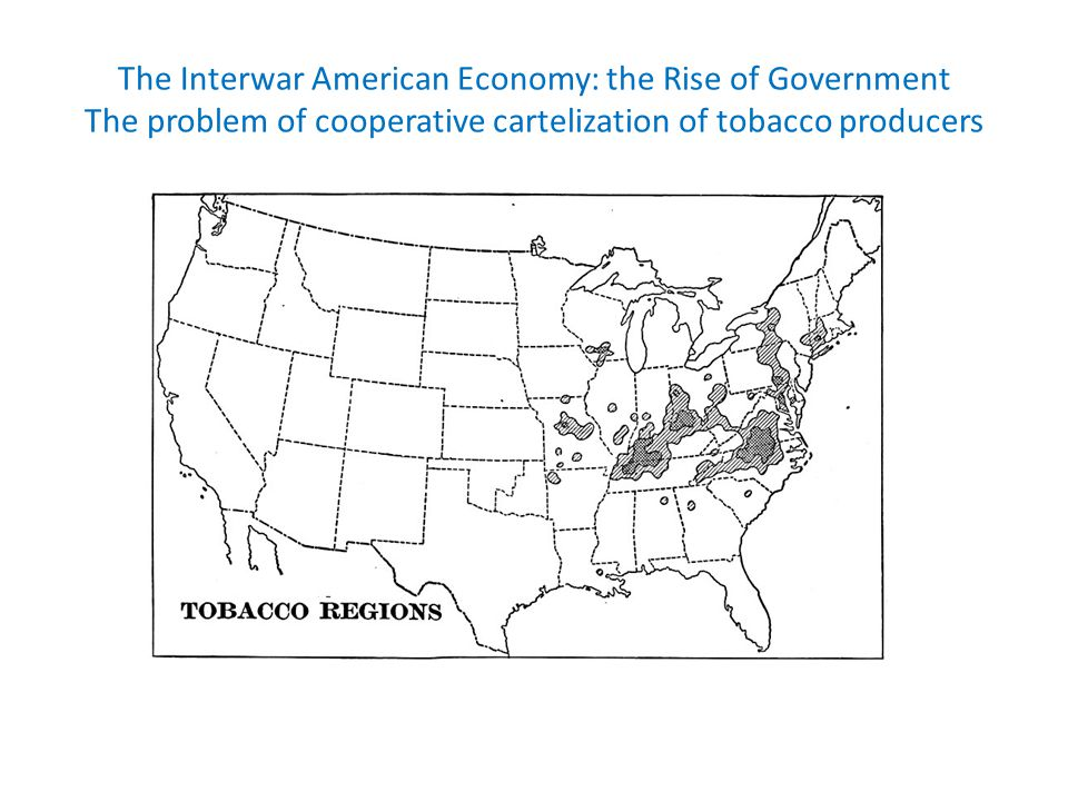 The Interwar American Economy: the Rise of Government The problem of cooperative cartelization of tobacco producers