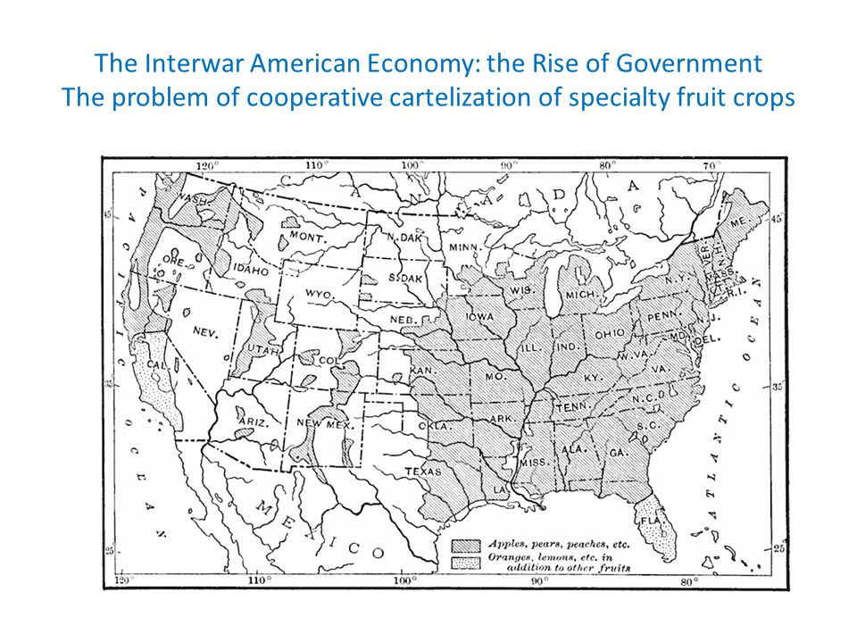 The Interwar American Economy: the Rise of Government The problem of cooperative cartelization of specialty fruit crops