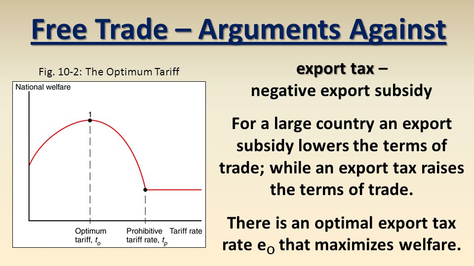 export tax export tax – negative export subsidy For a large country an export subsidy lowers the terms of trade; while an export tax raises the terms