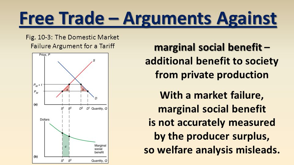 marginal social benefit marginal social benefit – additional benefit to society from private production With a market failure, marginal social benefit