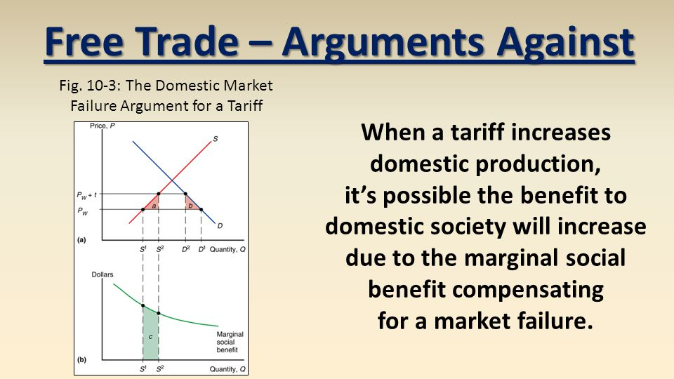 When a tariff increases domestic production, its possible the benefit to domestic society will increase due to the marginal social benefit compensatin