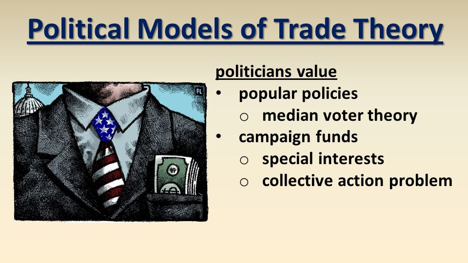 politicians value popular policies o median voter theory campaign funds o special interests o collective action problem Political Models of Trade Theo
