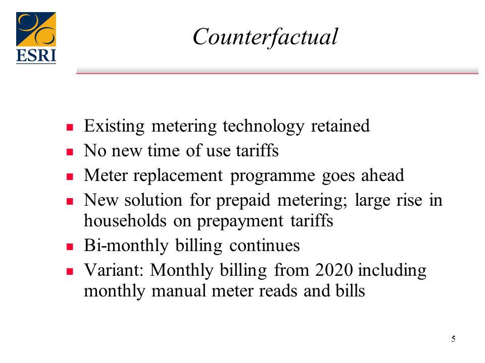 5 Counterfactual n n Existing metering technology retained n n No new time of use tariffs n n Meter replacement programme goes ahead n n New solution