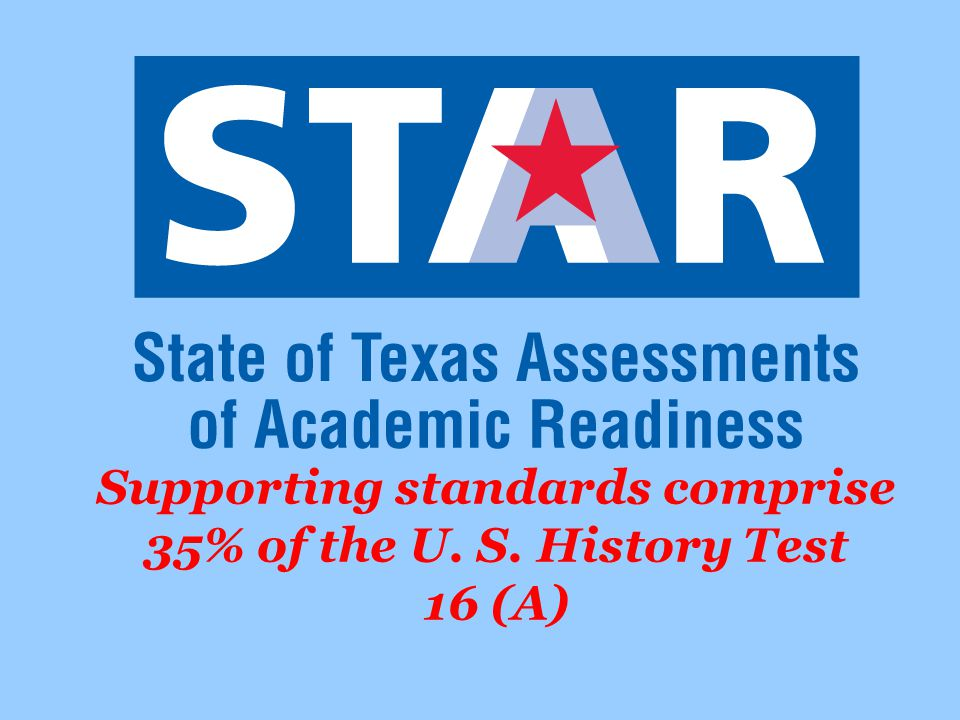 Supporting standards comprise 35% of the U. S. History Test 16 (A)