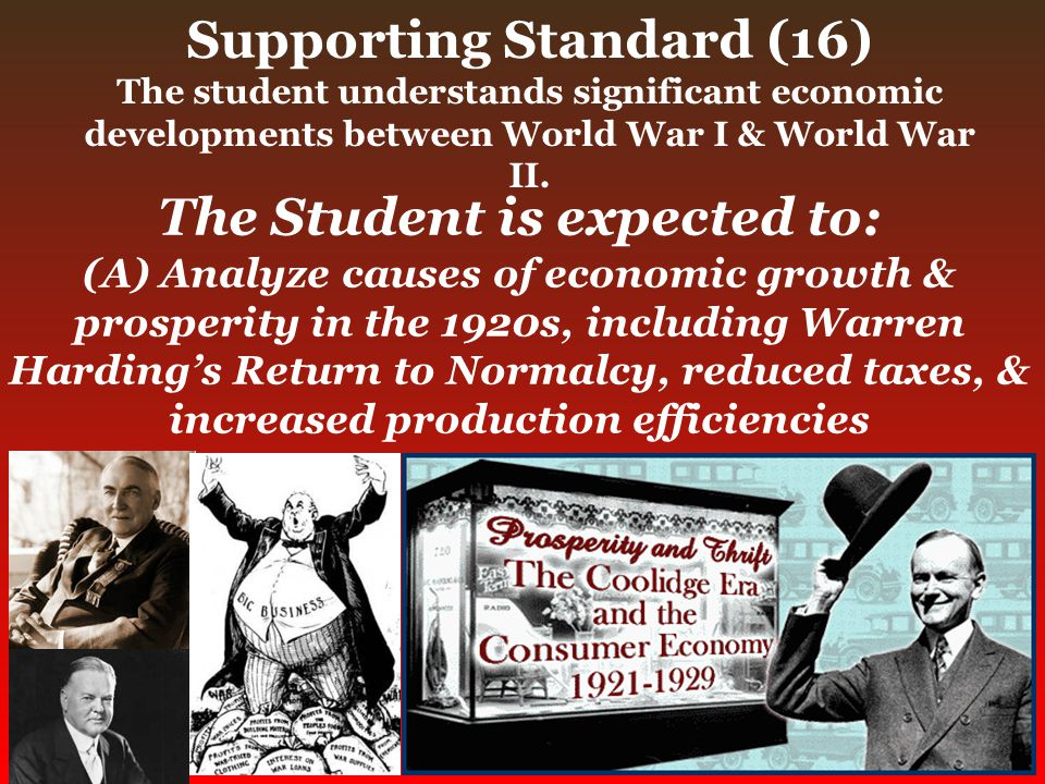 Supporting Standard (16) The student understands significant economic developments between World War I & World War II. The Student is expected to: (A)