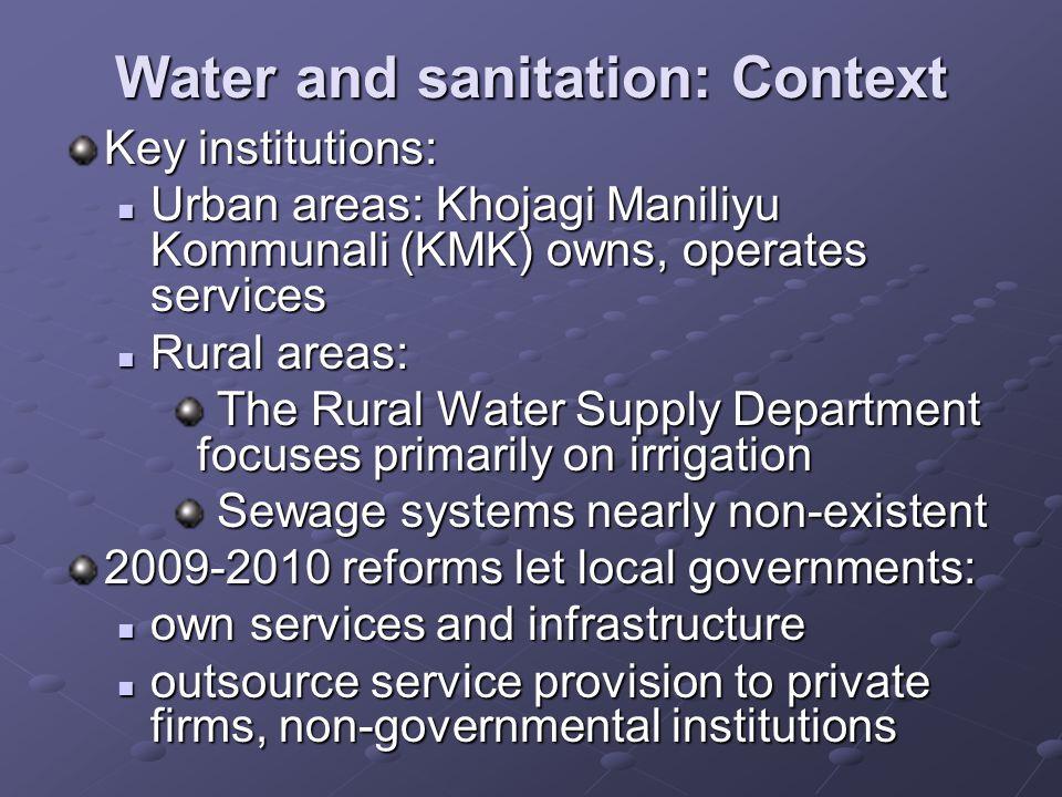 Water and sanitation: Context Key institutions: Urban areas: Khojagi Maniliyu Kommunali (KMK) owns, operates services Urban areas: Khojagi Maniliyu Ko