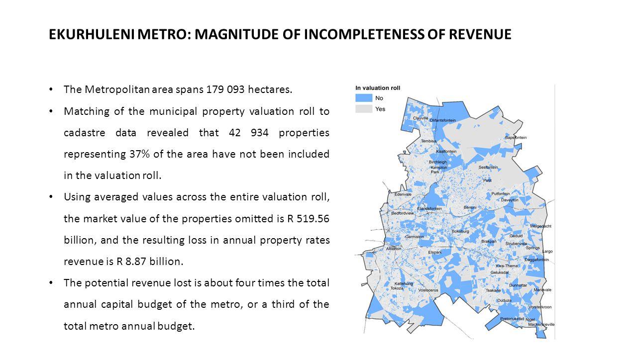 EKURHULENI METRO: MAGNITUDE OF INCOMPLETENESS OF REVENUE The Metropolitan area spans 179 093 hectares.