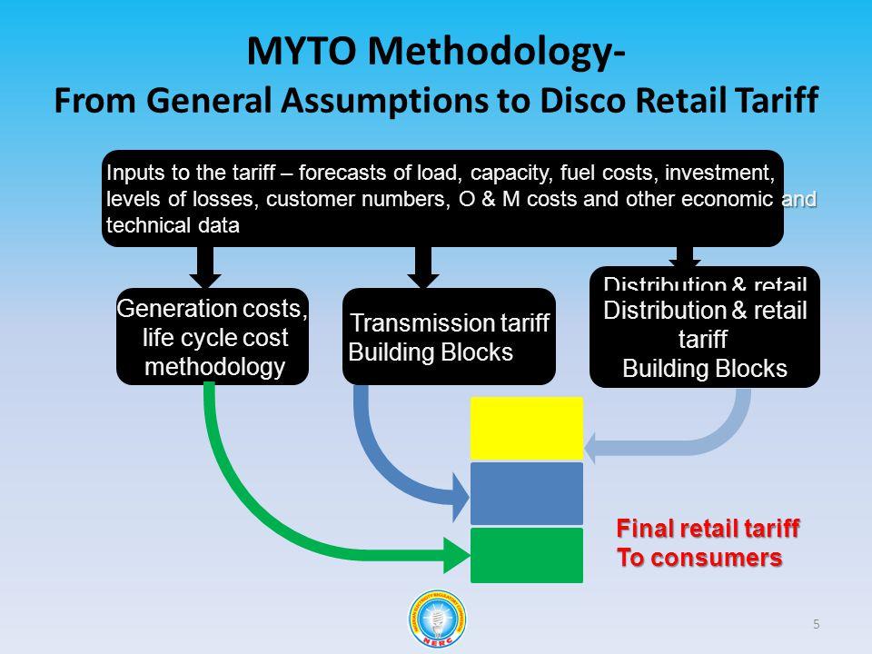 MYTO Methodology- From General Assumptions to Disco Retail Tariff Distribution & retail tariff Building Blocks Final retail tariff To consumers Distri