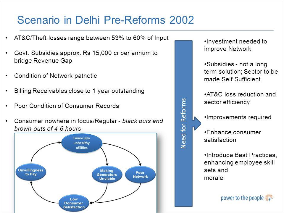 Scenario in Delhi Pre-Reforms 2002 16 Financially unhealthy utilities AT&C/Theft losses range between 53% to 60% of Input Govt.