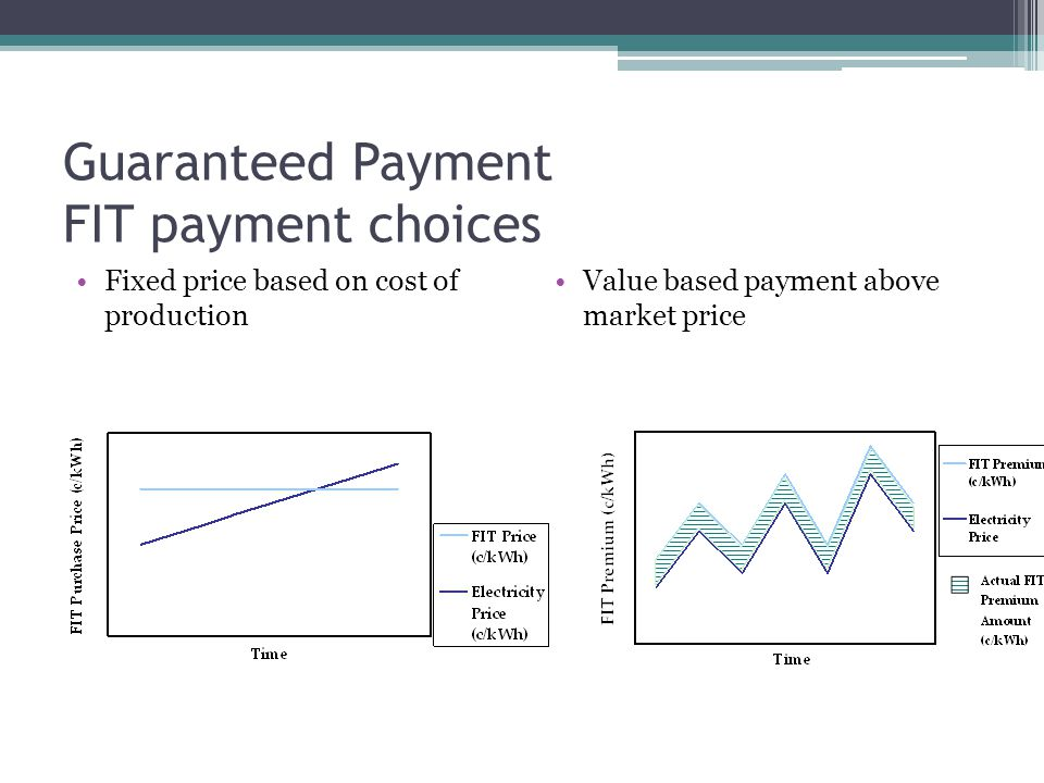 Guaranteed Payment FIT payment choices Fixed price based on cost of production Value based payment above market price