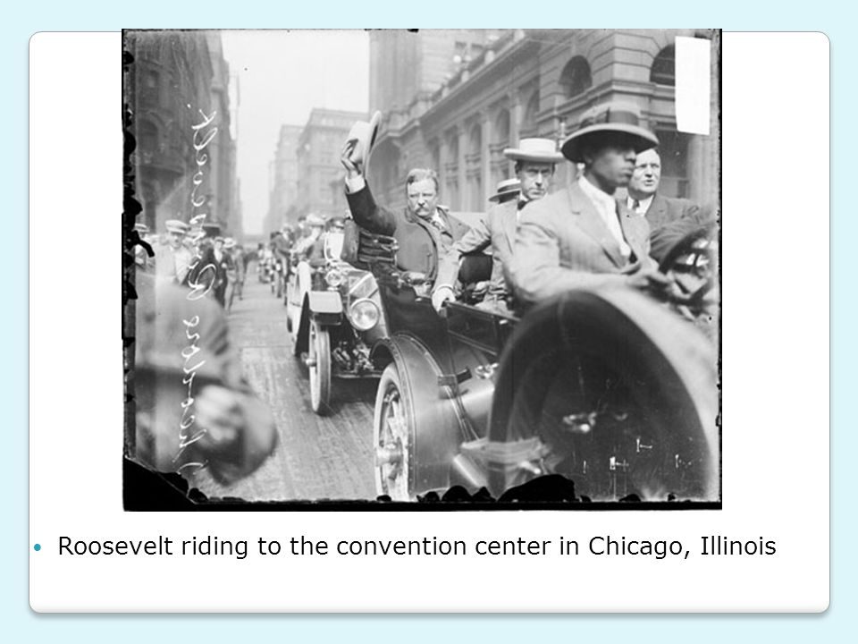 Roosevelt riding to the convention center in Chicago, Illinois