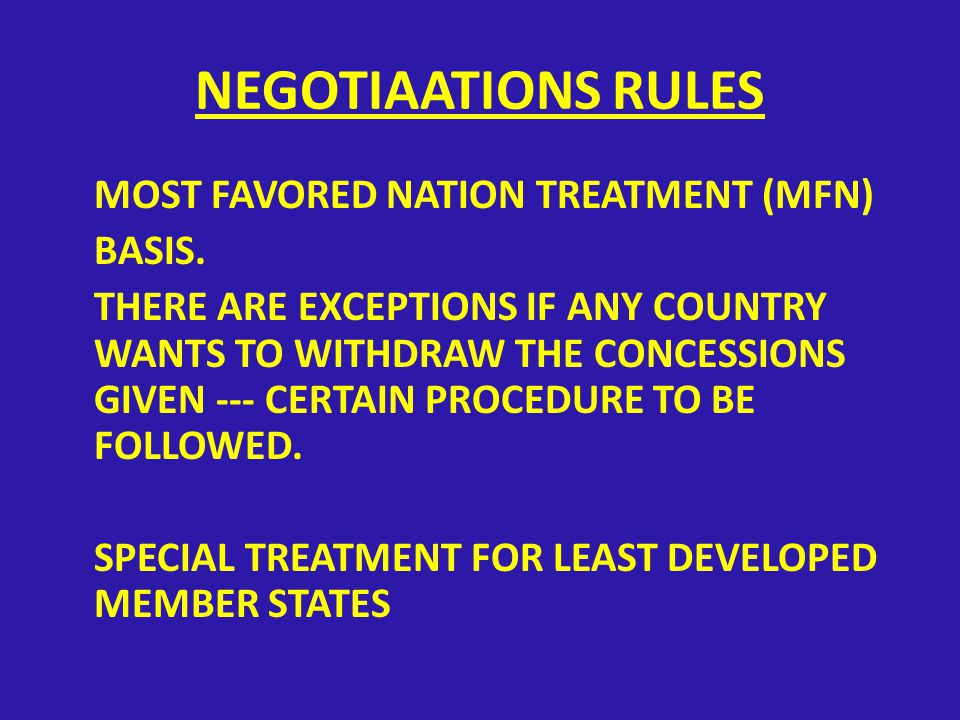 NEGOTIATIONS COMPONENTS OF NEGOTIATIONS TO COVER: 1- Tariff, para-tariff and non-tariff concessions 2- Arrangements compatible with the international obligations of the Participating States concerning direct trade measures including medium and long-term contracts for exports & imports of specific products or covering sectoral agreements may be considered in subsequent stages depending on developments and according to need.