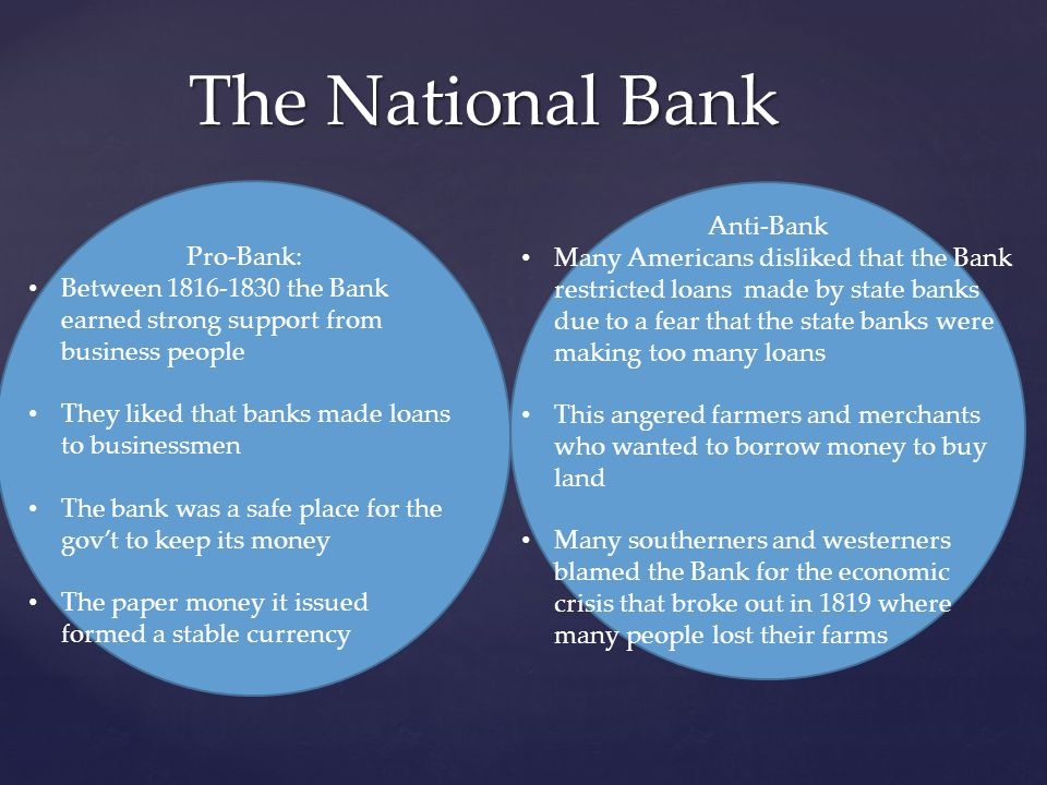 The National Bank Pro-Bank: Between 1816-1830 the Bank earned strong support from business people They liked that banks made loans to businessmen The