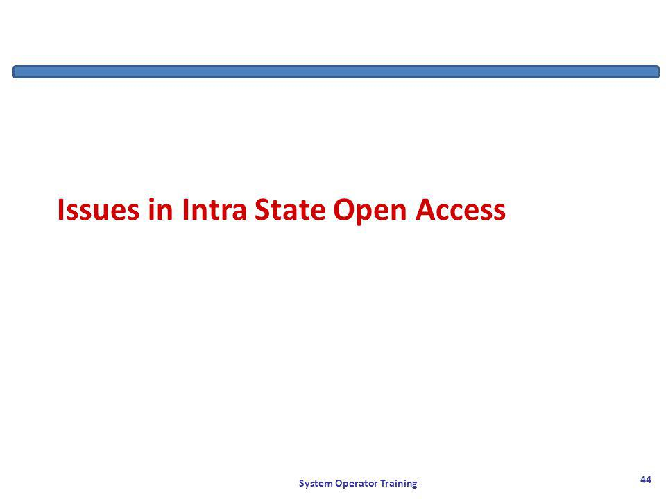 Issues in Intra State Open Access System Operator Training 44