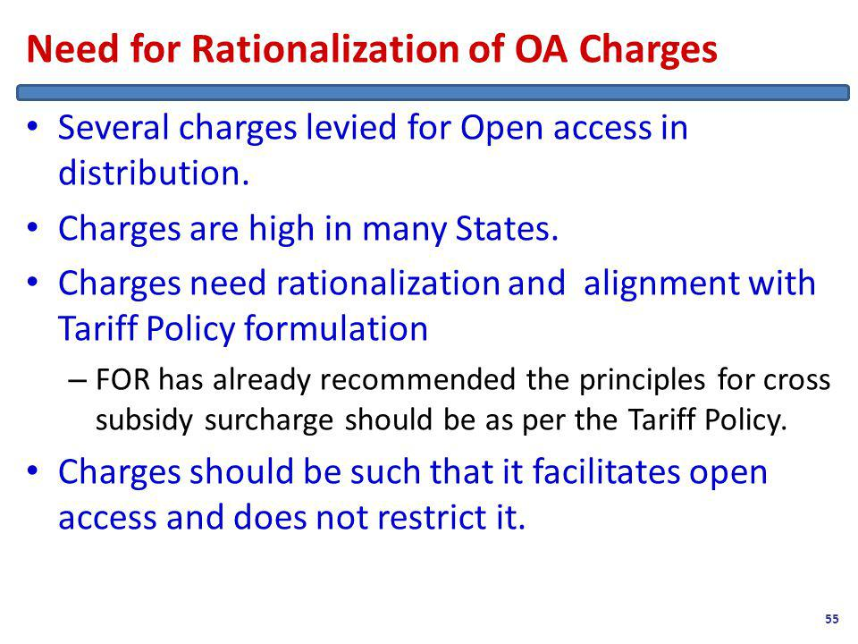 Need for Rationalization of OA Charges Several charges levied for Open access in distribution.