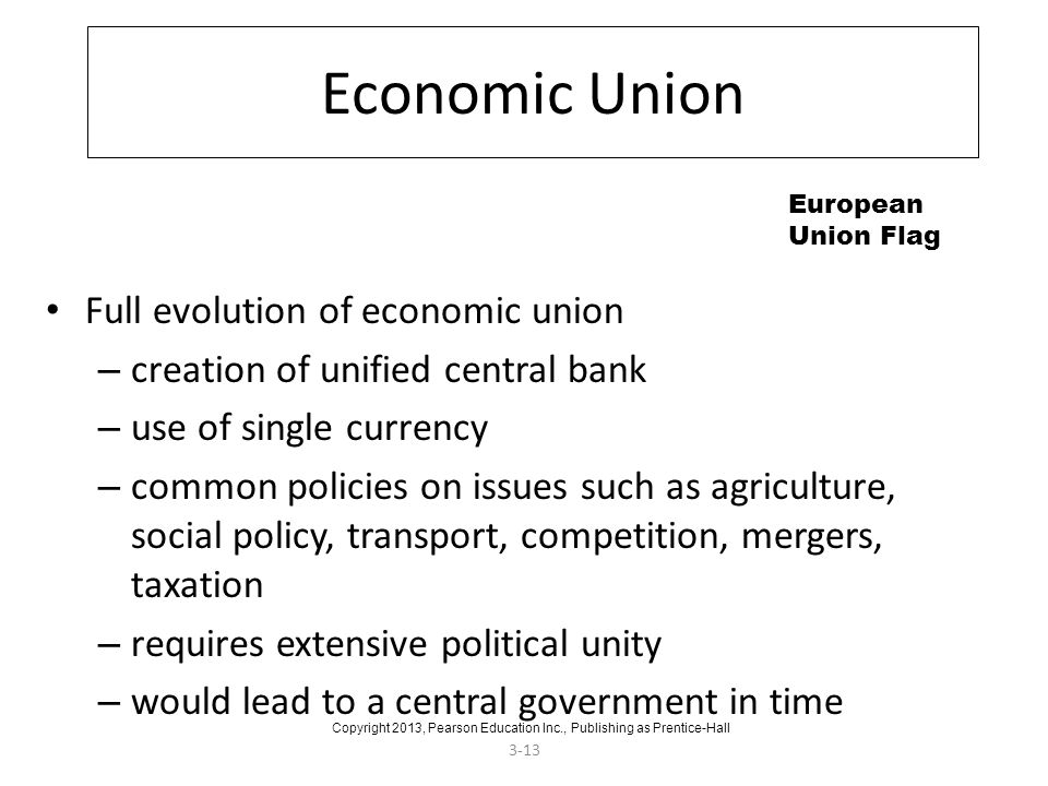 3-13 Economic Union Full evolution of economic union – creation of unified central bank – use of single currency – common policies on issues such as a