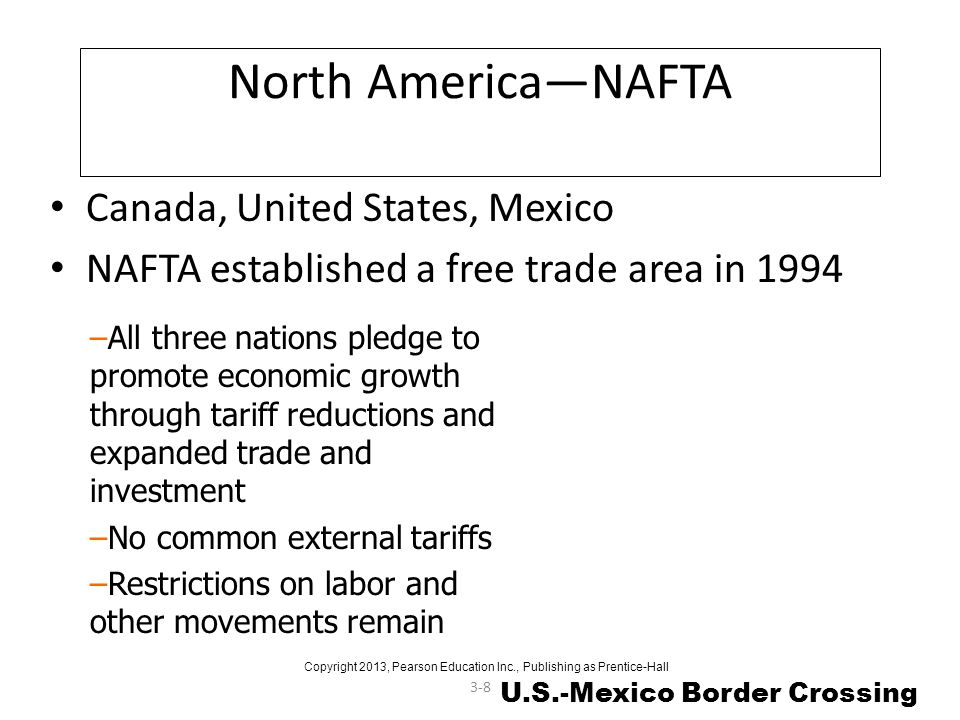 3-8 North AmericaNAFTA Canada, United States, Mexico NAFTA established a free trade area in 1994 –All three nations pledge to promote economic growth
