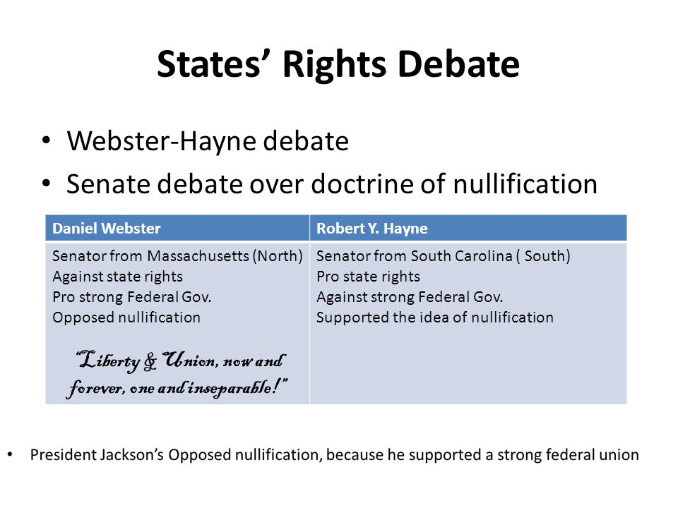 States Rights Debate Webster-Hayne debate Senate debate over doctrine of nullification Daniel WebsterRobert Y. Hayne Senator from Massachusetts (North