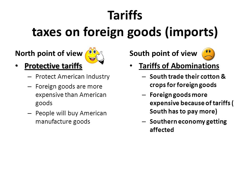 Tariffs taxes on foreign goods (imports) North point of view Protective tariffs Protective tariffs – Protect American Industry – Foreign goods are mor