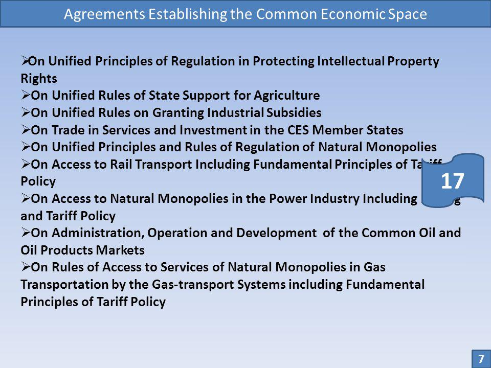 Agreements Establishing the Common Economic Space On Unified Principles of Regulation in Protecting Intellectual Property Rights On Unified Rules of S