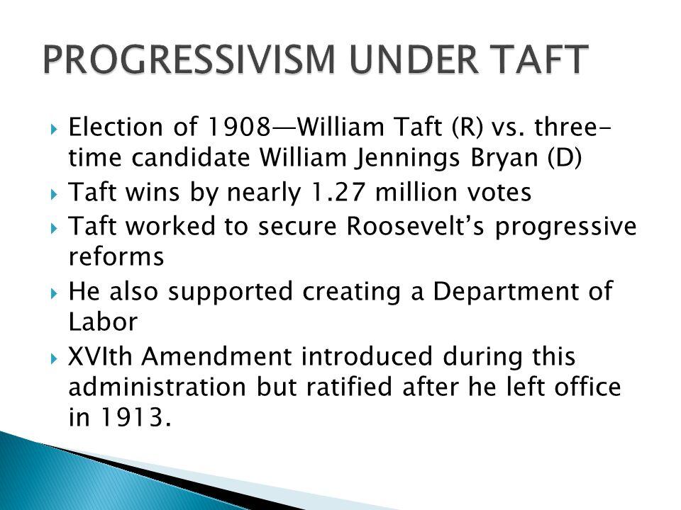 Election of 1908William Taft (R) vs.