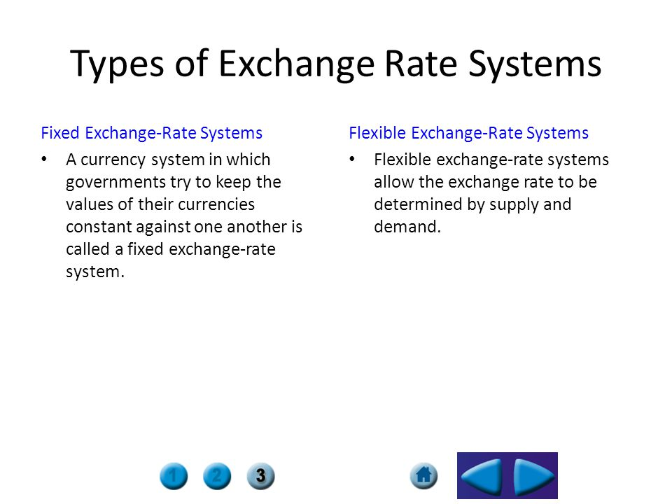 Types of Exchange Rate Systems Fixed Exchange-Rate Systems A currency system in which governments try to keep the values of their currencies constant