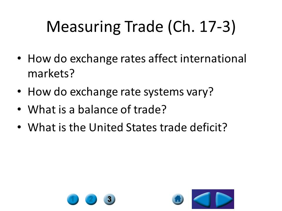 Measuring Trade (Ch. 17-3) How do exchange rates affect international markets? How do exchange rate systems vary? What is a balance of trade? What is