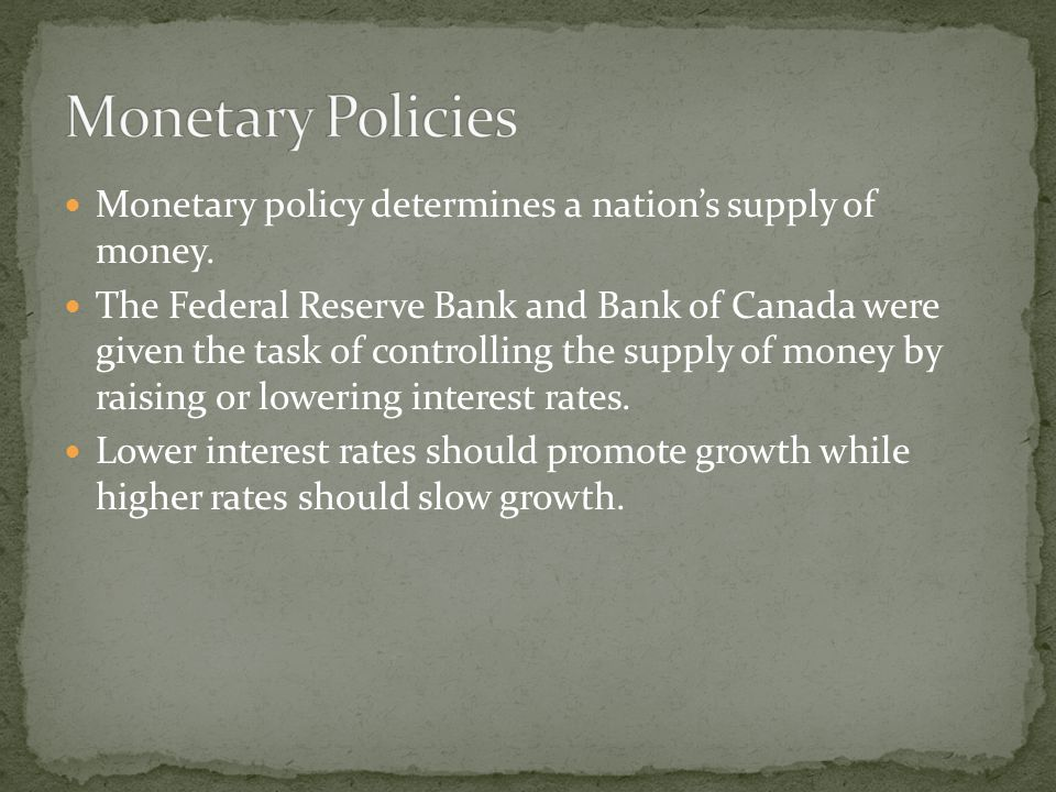 Monetary policy determines a nations supply of money.