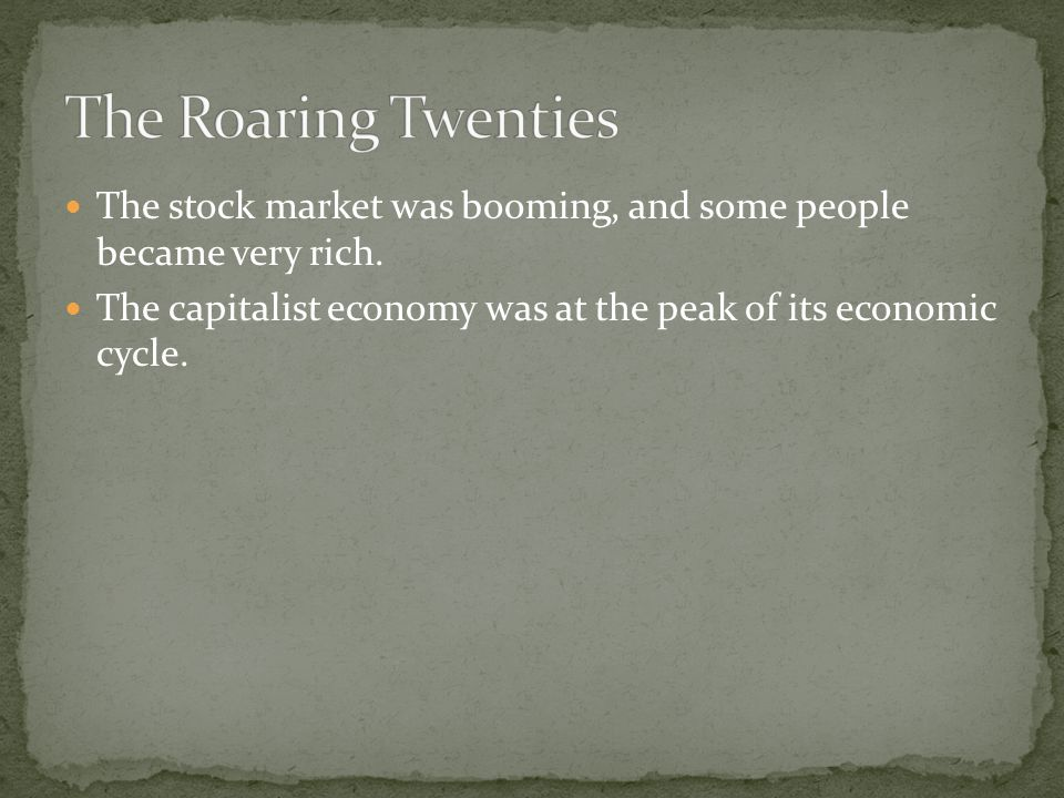 The stock market was booming, and some people became very rich.