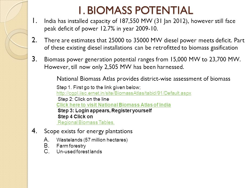 1. BIOMASS POTENTIAL 1.