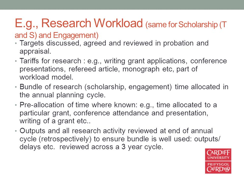 E.g., Research Workload (same for Scholarship (T and S) and Engagement) Targets discussed, agreed and reviewed in probation and appraisal.