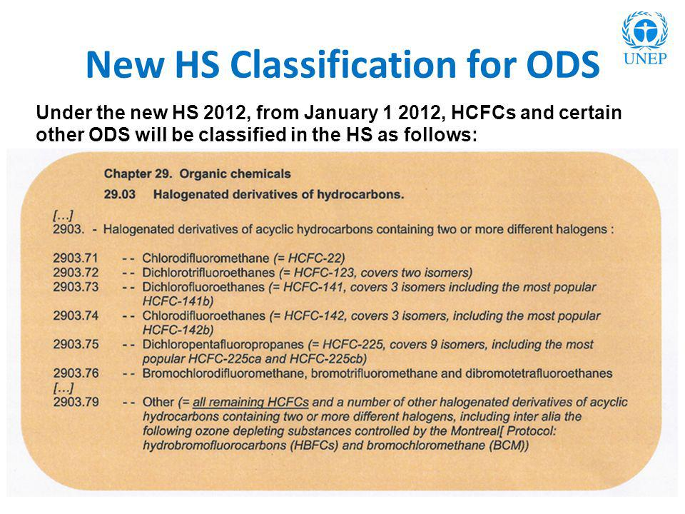 New HS Classification for ODS Under the new HS 2012, from January 1 2012, HCFCs and certain other ODS will be classified in the HS as follows:
