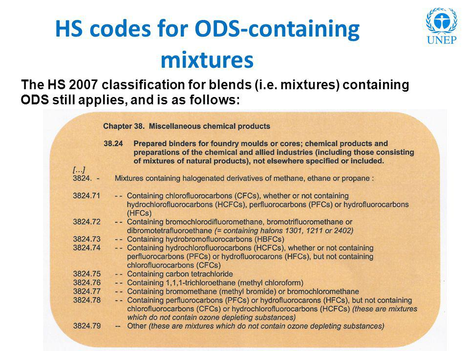 HS codes for ODS-containing mixtures The HS 2007 classification for blends (i.e. mixtures) containing ODS still applies, and is as follows: