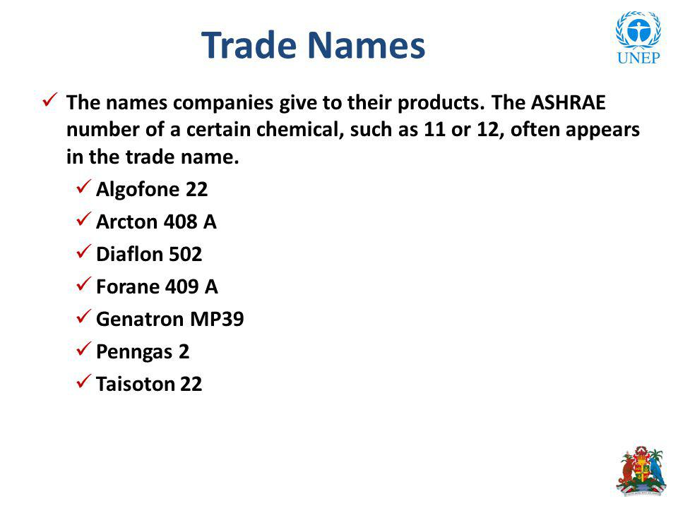 The names companies give to their products.