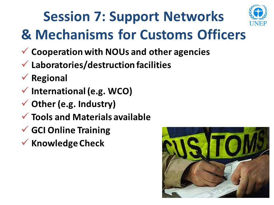 Session 7: Support Networks & Mechanisms for Customs Officers Cooperation with NOUs and other agencies Laboratories/destruction facilities Regional International (e.g.