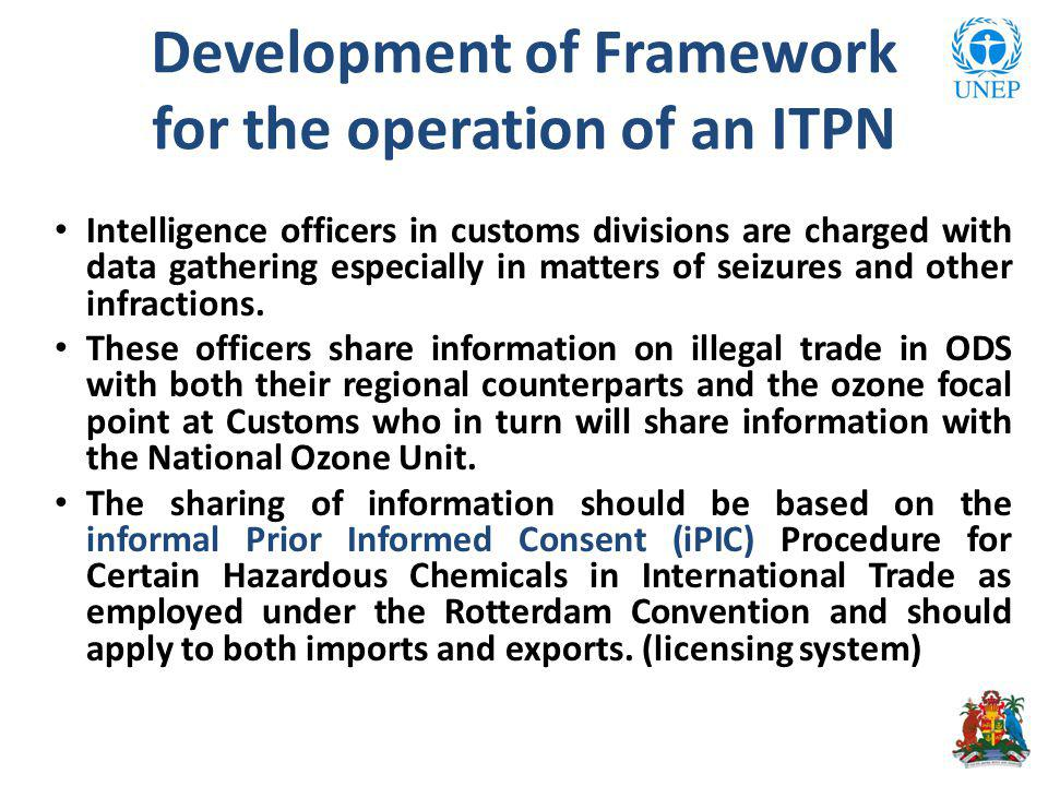 Development of Framework for the operation of an ITPN Intelligence officers in customs divisions are charged with data gathering especially in matters of seizures and other infractions.