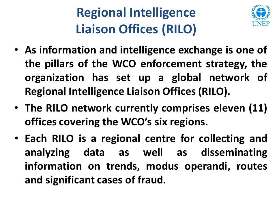 Regional Intelligence Liaison Offices (RILO) As information and intelligence exchange is one of the pillars of the WCO enforcement strategy, the organ