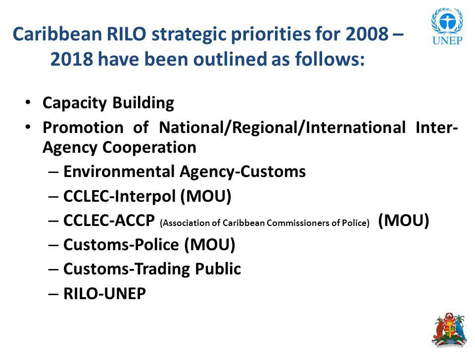 Caribbean RILO strategic priorities for 2008 – 2018 have been outlined as follows: Capacity Building Promotion of National/Regional/International Inter- Agency Cooperation – Environmental Agency-Customs – CCLEC-Interpol (MOU) – CCLEC-ACCP (Association of Caribbean Commissioners of Police) (MOU) – Customs-Police (MOU) – Customs-Trading Public – RILO-UNEP