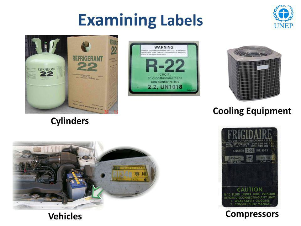 Examples of Labels Cylinders Cooling Equipment Compressors Vehicles Examining Labels