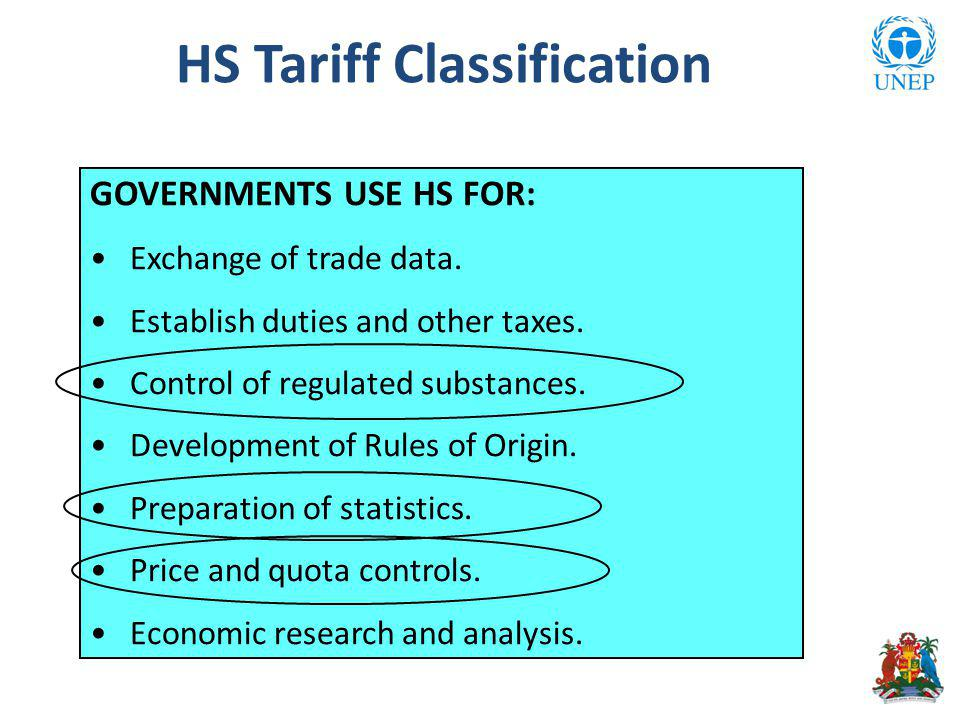 GOVERNMENTS USE HS FOR: Exchange of trade data. Establish duties and other taxes.
