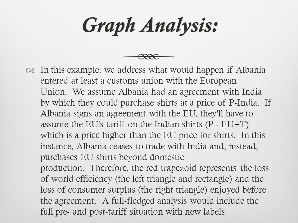 Graph Analysis:Graph Analysis: In this example, we address what would happen if Albania entered at least a customs union with the European Union.