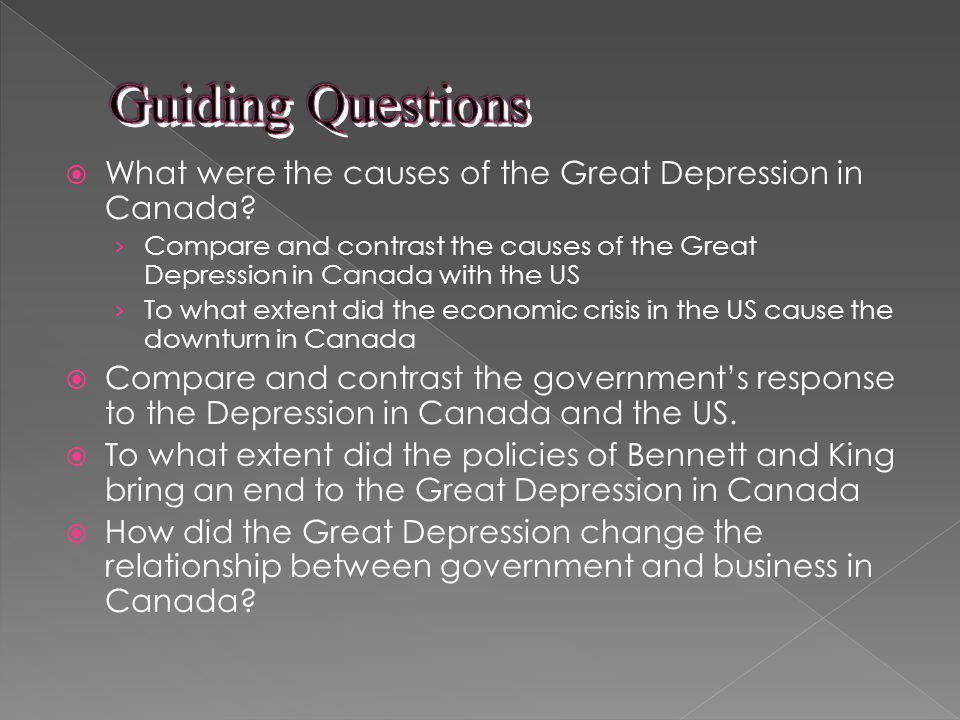 What were the causes of the Great Depression in Canada.
