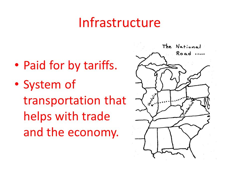 Infrastructure Paid for by tariffs. System of transportation that helps with trade and the economy.