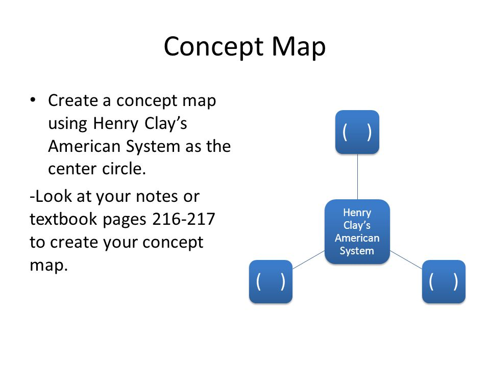 Concept Map Create a concept map using Henry Clays American System as the center circle.