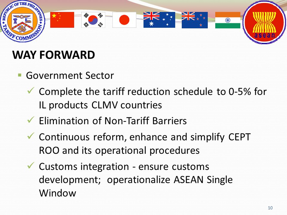 Government Sector Complete the tariff reduction schedule to 05% for IL products CLMV countries Elimination of NonTariff Barriers Continuous reform, en