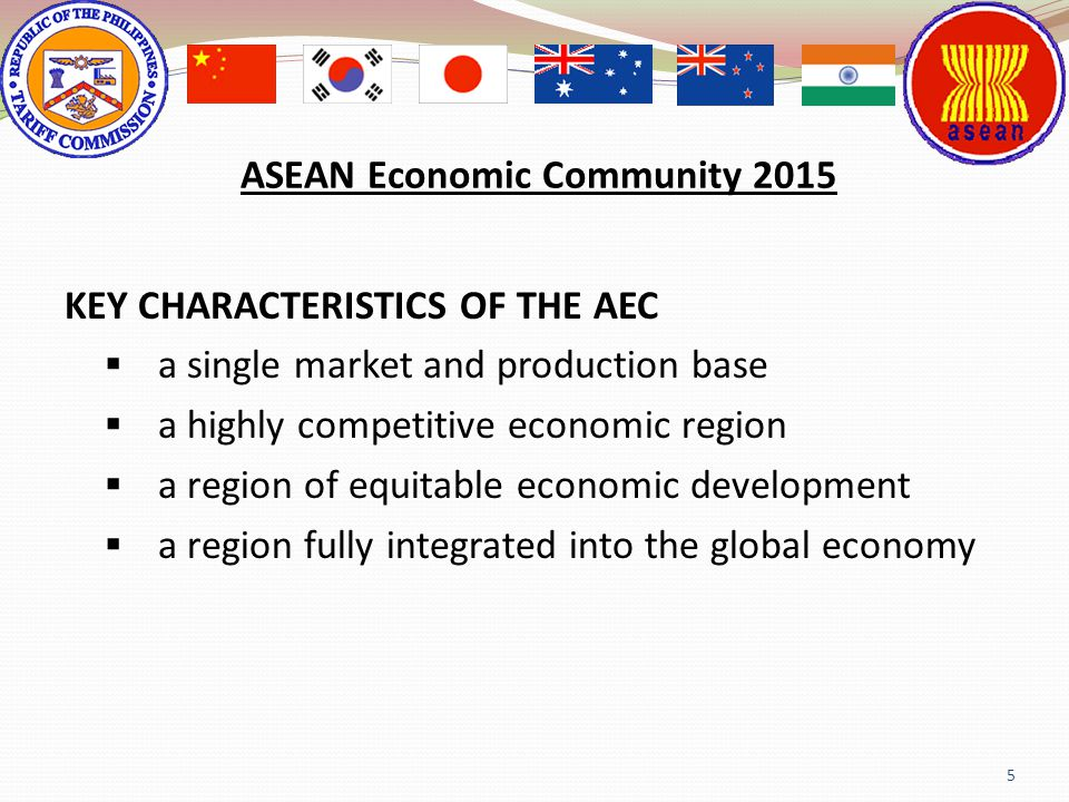 5 ASEAN Economic Community 2015 KEY CHARACTERISTICS OF THE AEC a single market and production base a highly competitive economic region a region of eq