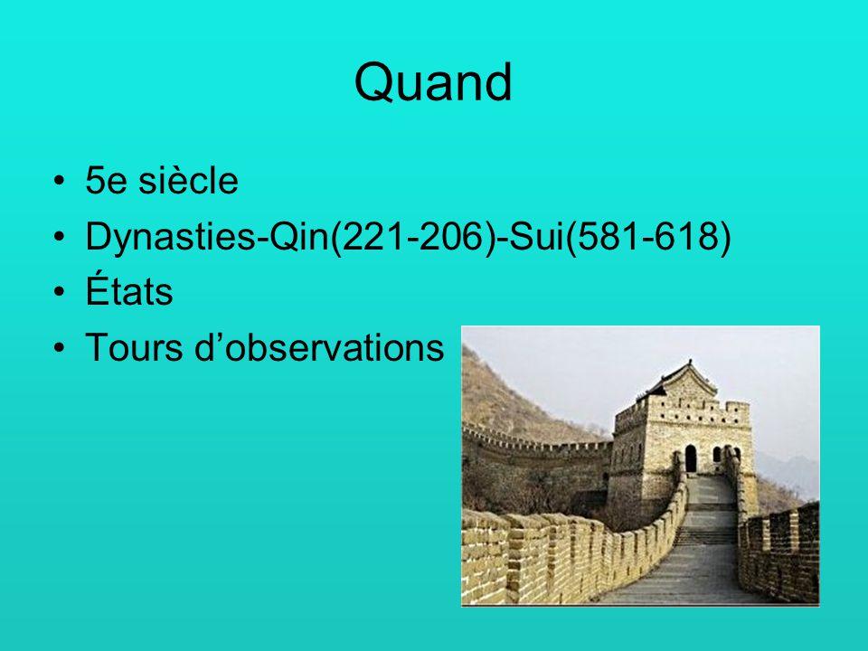 Quand 5e siècle Dynasties-Qin(221-206)-Sui(581-618) États Tours dobservations
