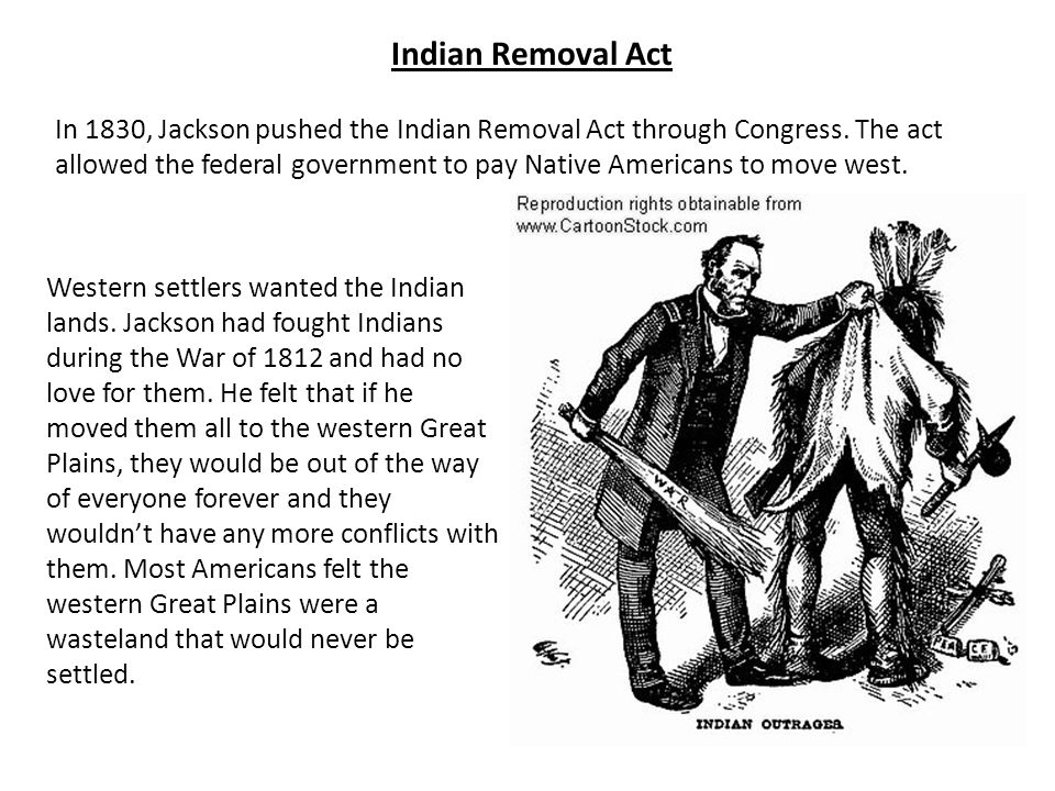 Indian Removal Act In 1830, Jackson pushed the Indian Removal Act through Congress. The act allowed the federal government to pay Native Americans to